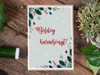 Karácsonyi képeslap, adventi lap, karácsony, advent, üdvözlőlap, kéepslap, illusztrált, rajz, grafika, karácsonyfa, ajándék, angyal, mikulás, ajándék, ajándékkísérő, tél, hó, december, ünnep, szenteste, jézuska, újrahasznosított papír, csomagolásmentes karácsony, hulladékmentes
